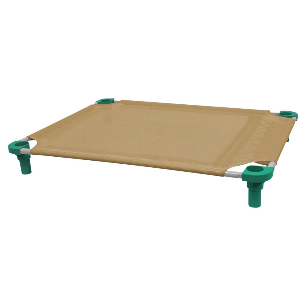 40x30 Pet Cot in Tan with Teal Legs, Unassembled