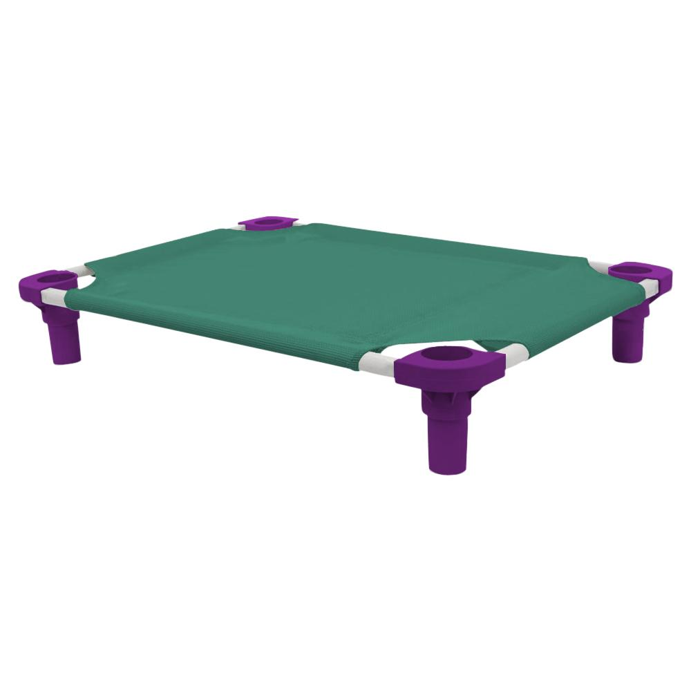 30x22 Pet Cot in Teal with Purple Legs, Unassembled