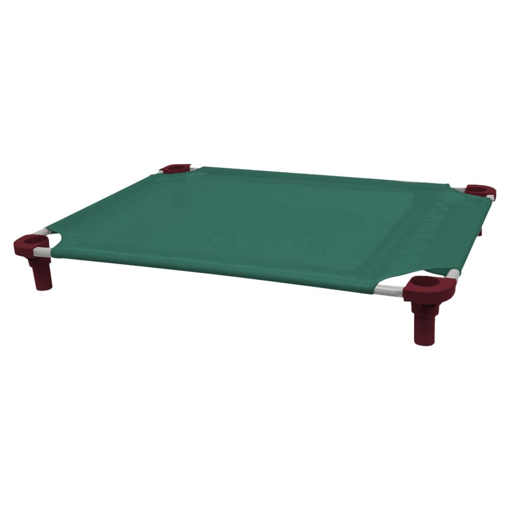 40x30 Pet Cot in Teal with Burgundy Legs, Unassembled