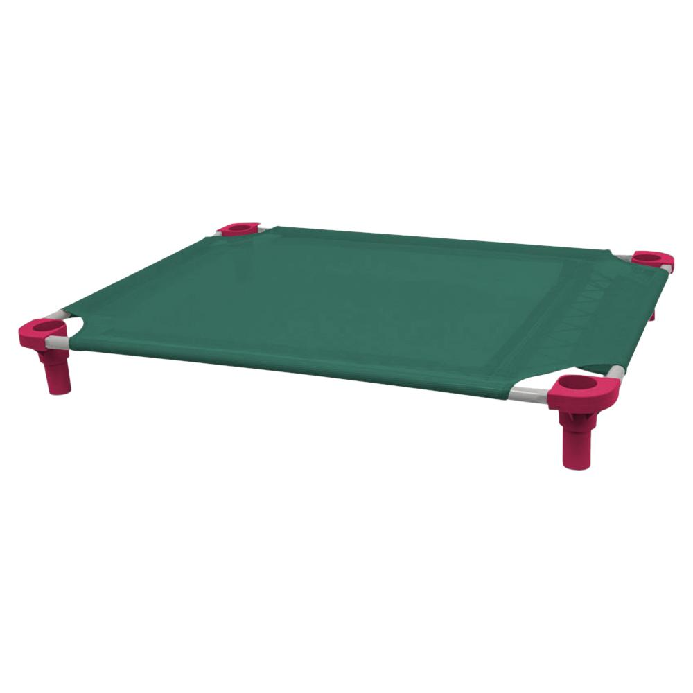 40x30 Pet Cot in Teal with Fuchsia Legs, Unassembled