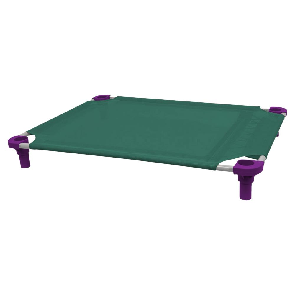 40x30 Pet Cot in Teal with Purple Legs, Unassembled