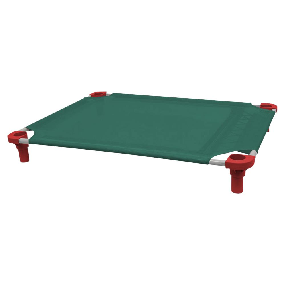 40x30 Pet Cot in Teal with Red Legs, Unassembled