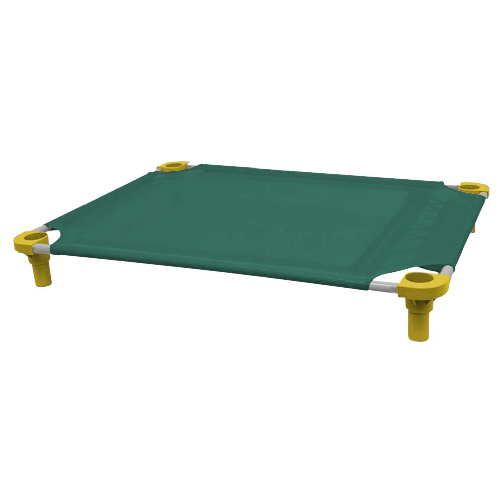 40x30 Pet Cot in Teal with Yellow Legs, Unassembled